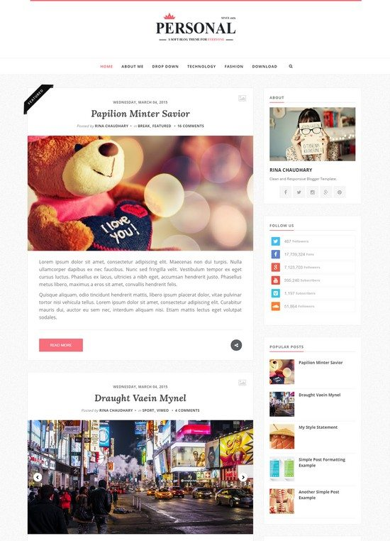 Personal - Clean & Responsive Blogger Template