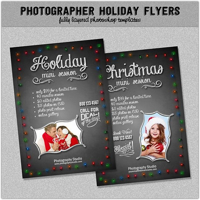 Photographer Holiday Marketing Flyers, Chalkboard & Lights