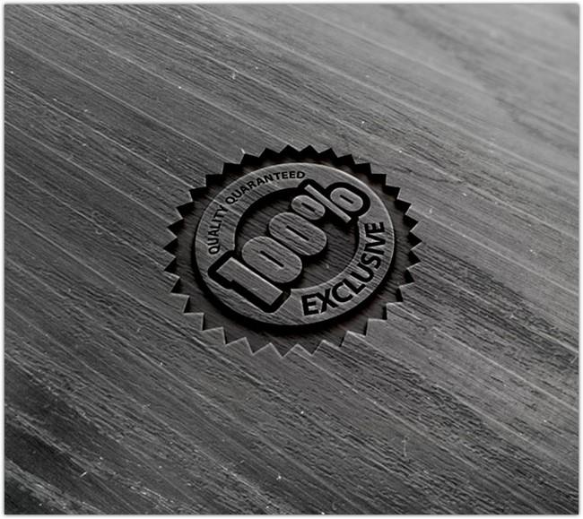 Photorealistic Wood Logo MockUp PSD