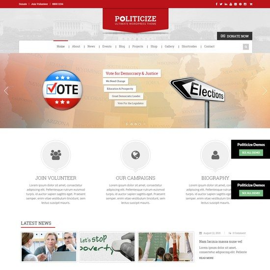 Politicize - Political Responsive WordPress Theme