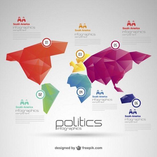 Politics world map free infographic