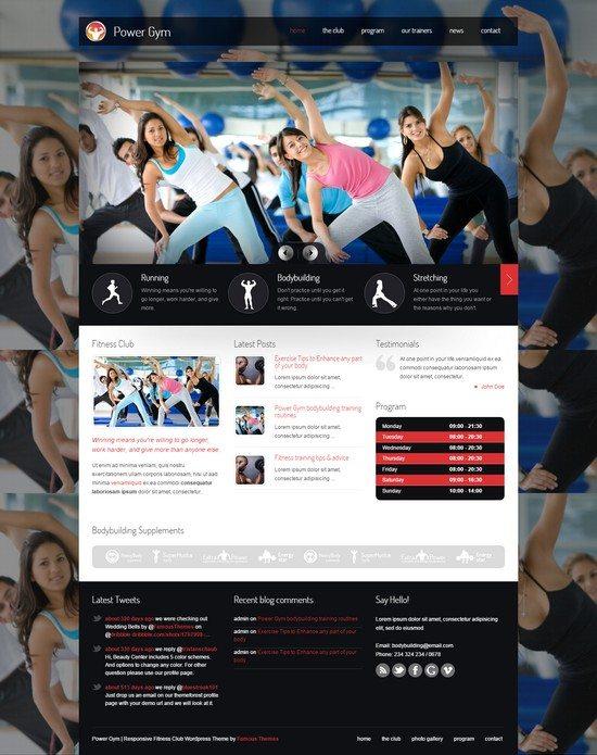 Power Gym Responsive WordPress Theme