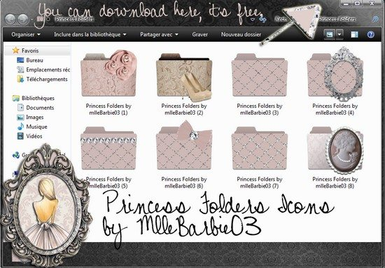Princess Folders Icons for girls