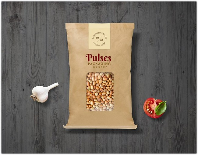 Pulses Kraft Paper Pouch Packaging Mockup