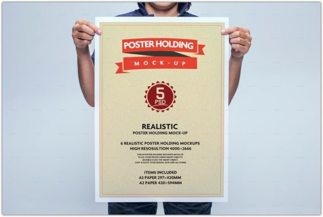 Realistic Poster Holding Mock-Up