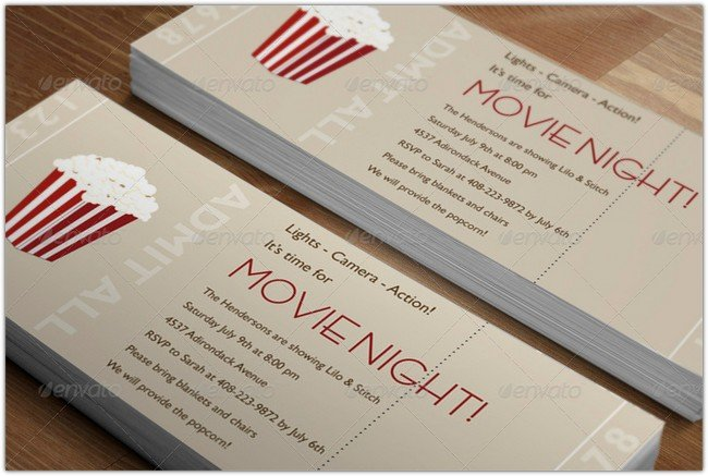 Movie Night Realistic Ticket Mockup