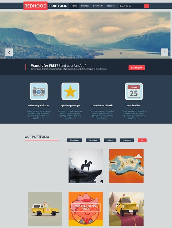 Red hood Portfolio Blogger Template