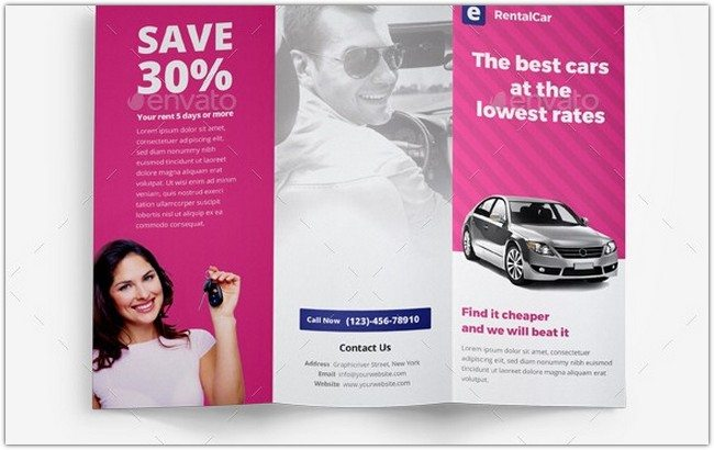 Rental Car Trifold Brochure