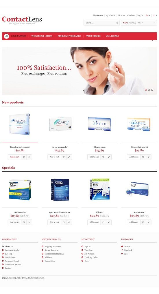 Responsive Contact Lens Store Magento Theme