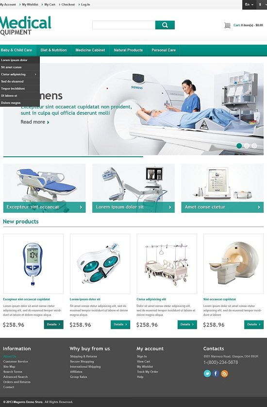 Responsive Medical Equipment Store Magento Theme