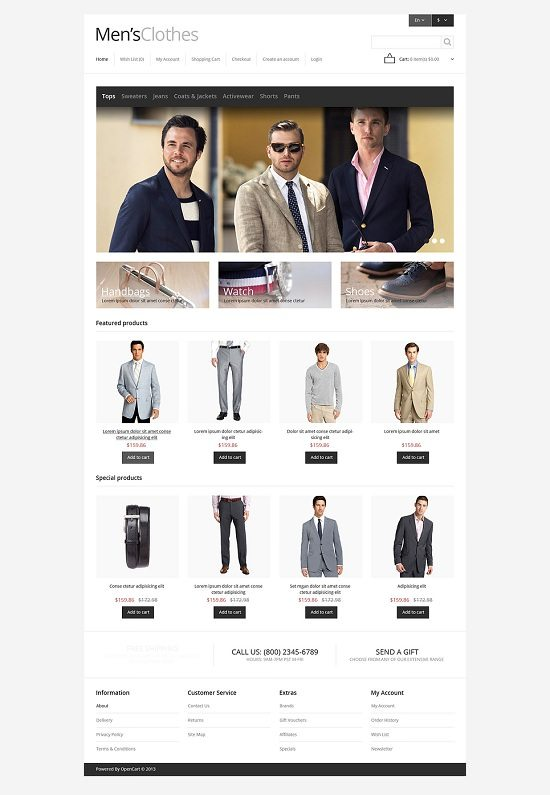 Responsive Men's Clothing Store OpenCart Template