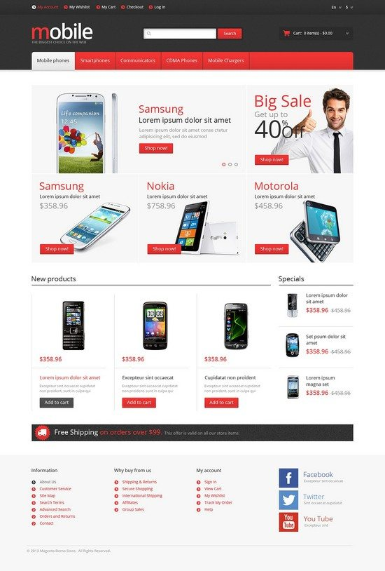 Responsive Mobile Phones Store Magento Theme