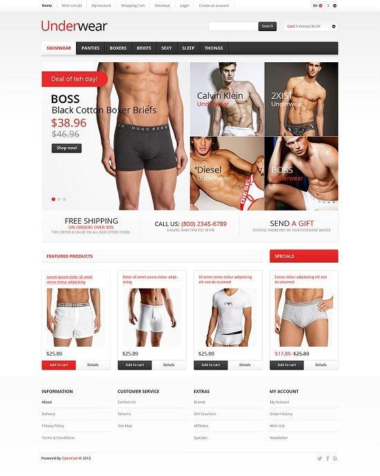 Responsive Underwear Store OpenCart Template