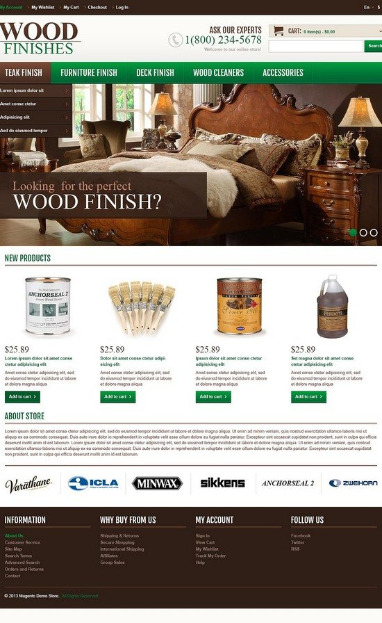 Responsive Wood Finishes Shop Magento Theme