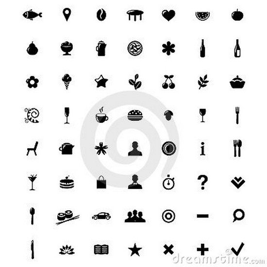 Restaurant And Map Icons Set. Vector