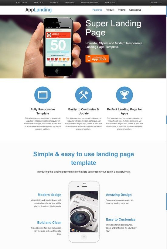 Retina Ready Responsive App Landing Page Website Template