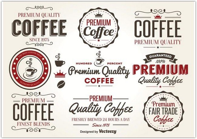 Retro Coffee Label Vectors
