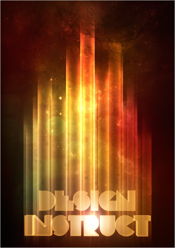 Retro-Space Typography Poster with Colorful Lights