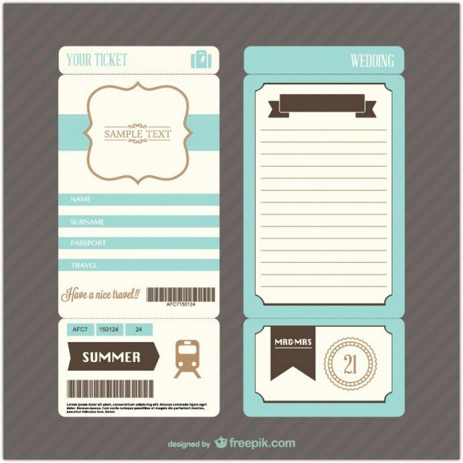 Retro boarding pass wedding invitation