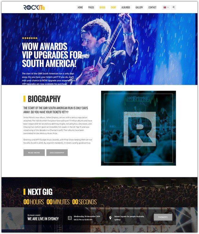 Rockit 2.0 Music Band Html Template