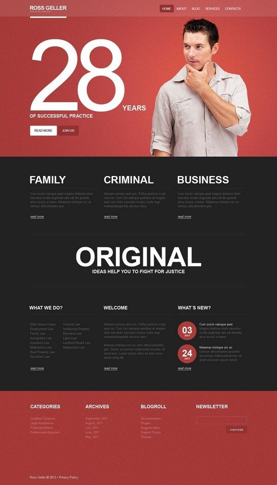 Ross Geller Lawyer WordPress Theme