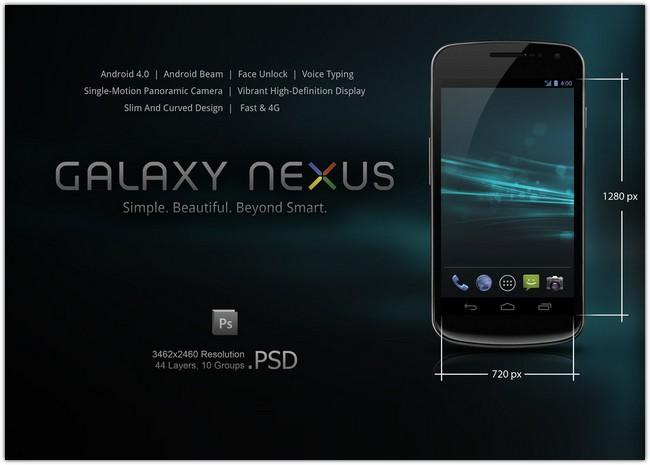 Samsung Galaxy Nexus . PSD