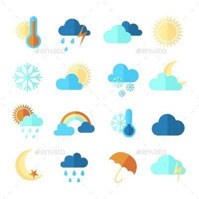 Set of colorful flat weather icons