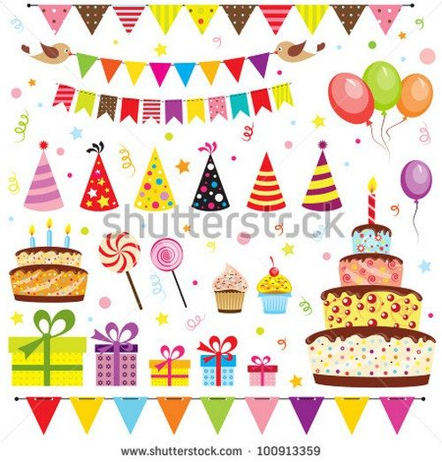 Set of vector birthday party elements. Eps 10