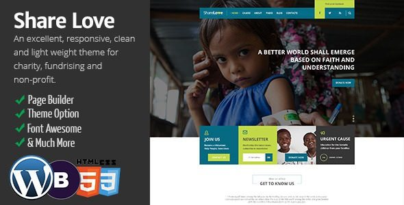 ShareLove Charity Non-Profit WordPress Theme