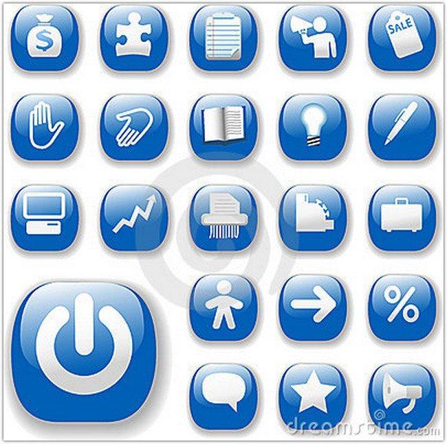 Shiny Icons Business Internet Website Set Blue
