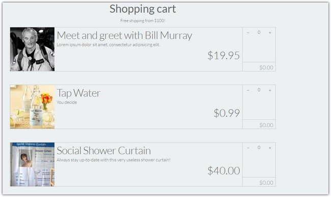 Shopping Cart Responsive