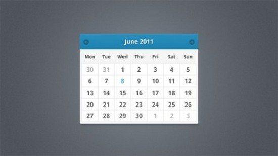 Simple Minimal Calendar Widget Design PSD