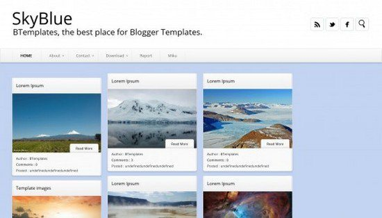 SkyBlue Blogger Template