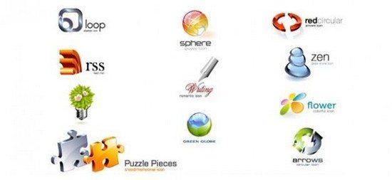 Sleek 3D logo templates psd