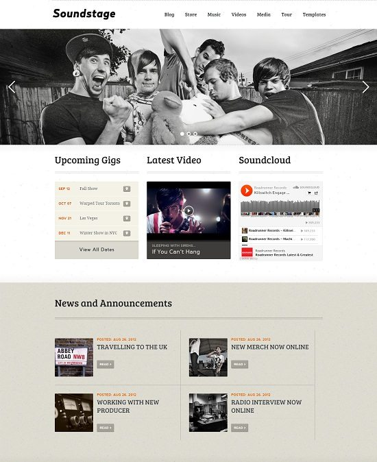 Soundstage - WordPress Theme For Bands Musicians