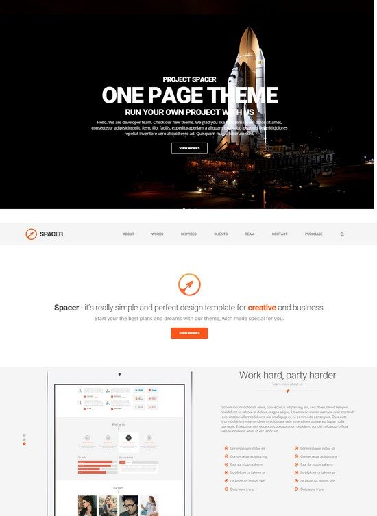 Spacer - Parallax One Page HTML5 Template