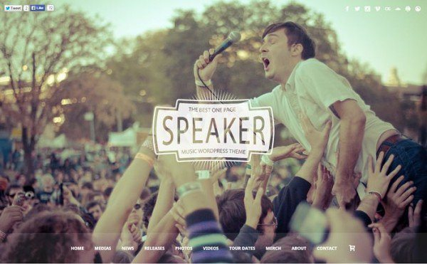 Speaker – One Page Music WordPress Theme