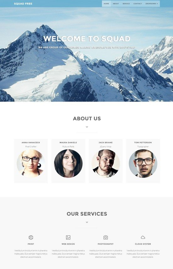 Squadfree – Free Bootstrap template