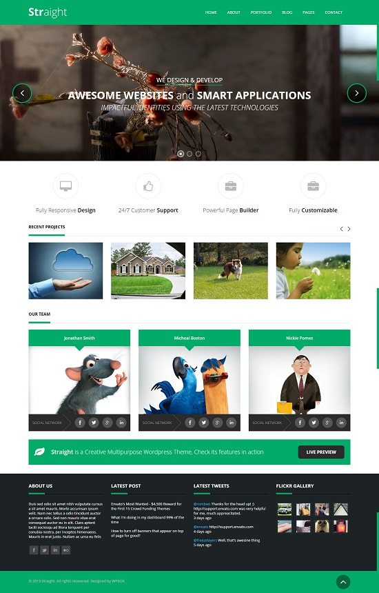 Straight - Creative Flat HTML Template