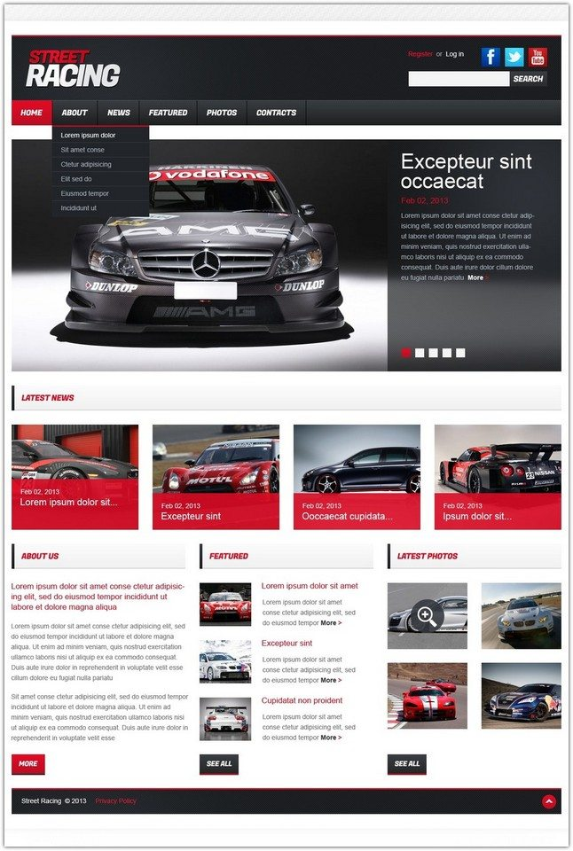 Street Car Racing Responsive Website Template
