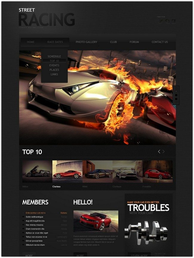 Street Car Racing Website Template