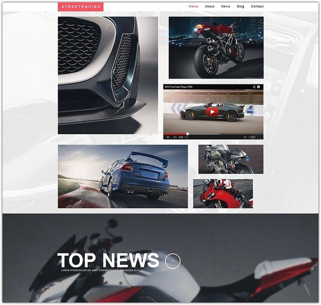 Streetracing Responsive Website Template