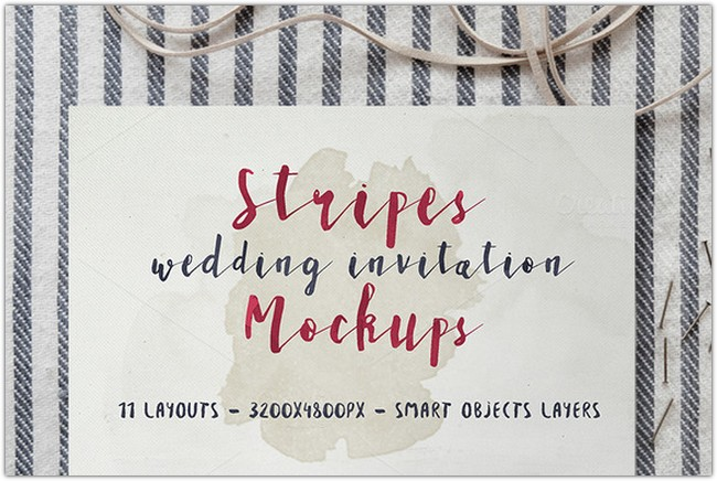 Stripes Wedding Invitation Mockups