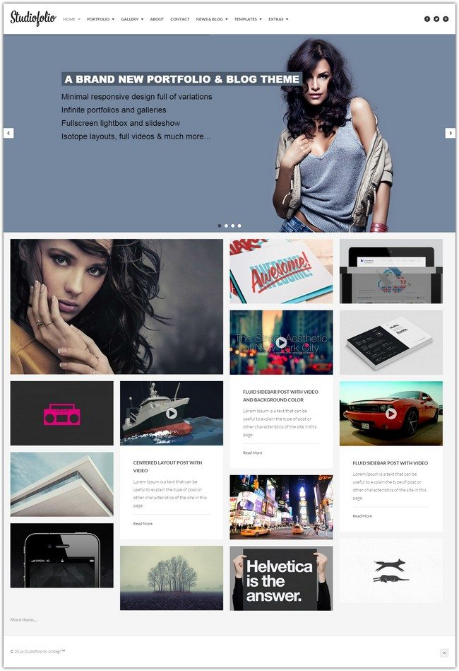 Studiofolio A Versatile Portfolio and Blog Theme