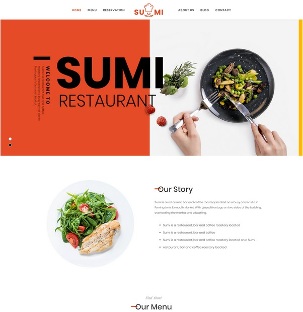 Sumi Drag & Drop Restaurant Joomla Template