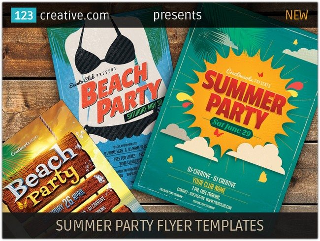 Summer Party Flyer Templates (retro style and colorful)