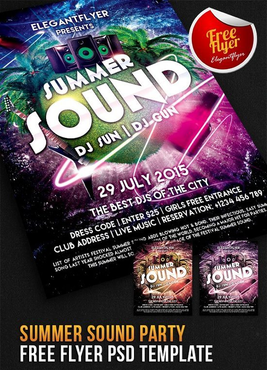 Summer Sound Party Flyer PSD