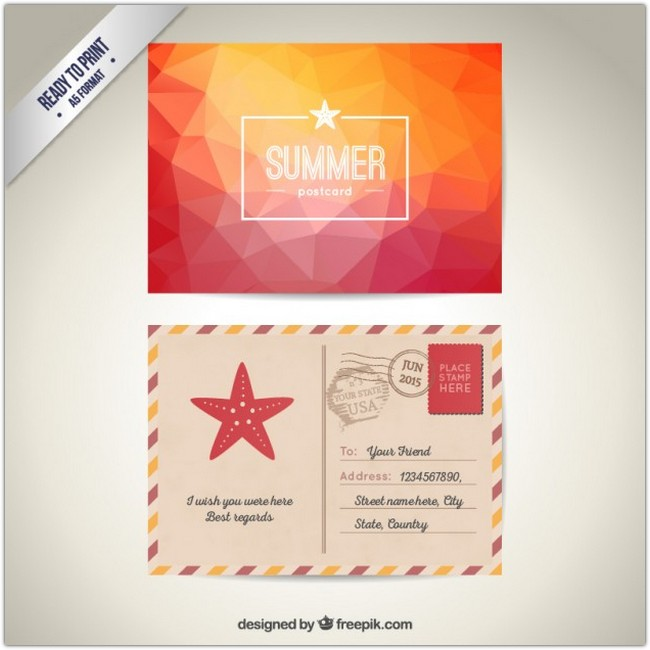 Summer post card Free Vector