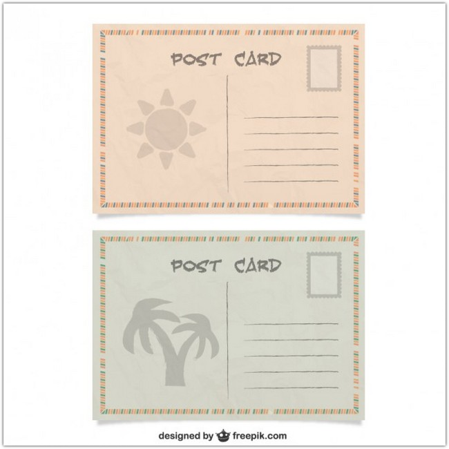 Summer Post Cards Free Vector
