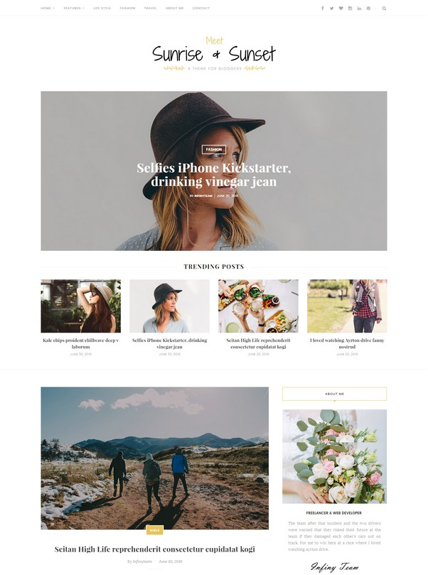 Sunrise & Sunset - Personal & Magazine Blogger Template